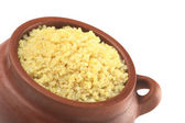 Cooked White Quinoa in Rustic Bowl — Stock Photo