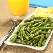 Cooked Green Beans with Onion and Parsley — Stock Photo