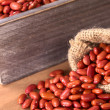 Stock Photo: Raw Red Kidney Beans in Jute Sack and Wooden Box