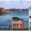 Collage of the Coastal Town of Reine, Lofoten, Norway — Stock Photo