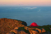 Tent on a Mountain Ridge Lit by the Midnight Sun — Stock Photo