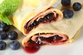 Pancakes Filled with Blueberry Jam — Stock Photo
