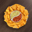 Nachos with Guacamole and Tomato Salsa — Stock Photo