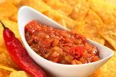 Hot Tomato Salsa with Nachos — Stock Photo