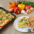 Stock Photo: Rice casserole with vegetables Chicken fillet with tomato and ch