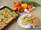 Rice casserole with vegetables Chicken fillet with tomato and ch — Stock Photo