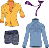 Man clothes colored collection — Stock Vector