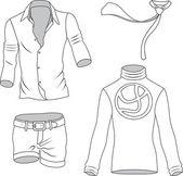 Man clothes greyscale collection — Stock Vector