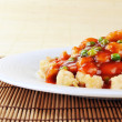Chinese food on plate close up — Stock Photo