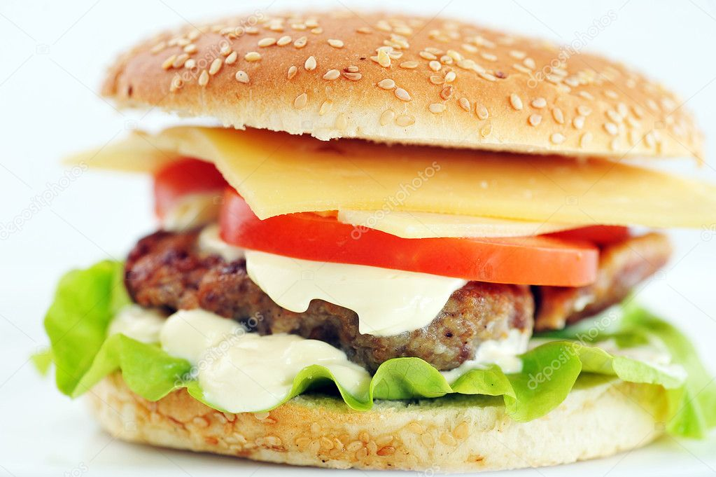 Hamburger with cutlet and vegetables close up  Stock Photo #5823634