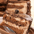 Homemade chocolate cake close-up - Stock Photo