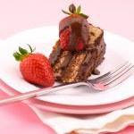 Slice of chocolate cake — Stock Photo