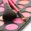 Blushes palette and brushes — Stock Photo