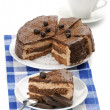 Homemade chocolate cake and coffee — Stock Photo #5435182
