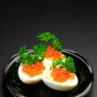 Appetizers with caviar - Stok fotoraf