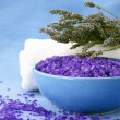 Bath salt, lavander and towel — Stock Photo #5490429