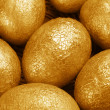 Stock Photo: Golden Easter eggs
