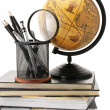 Globe, books and office supplies — Stock Photo #5589104
