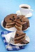 Domowe ciasta czekolada i kawa — Zdjęcie stockowe