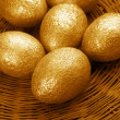 Golden Easter eggs - Stock Photo