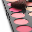 Blushes palette and brush — Stock Photo