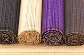 Bambus matten gerollt — Stockfoto