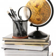 Globe, books and office supplies - 图库照片