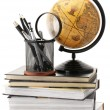 Globe, books and office supplies - Stock fotografie