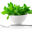 Mint in bowl - Stock Photo