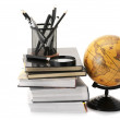 Globe, books and office supplies — Stock Photo #6188725