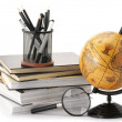 Globe, books and office supplies — Stok fotoğraf