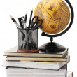 Globe, books and office supplies — Stockfoto