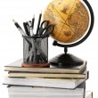 Globe, books and office supplies — Stock fotografie