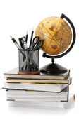 Globe, books and office supplies — Stock Photo