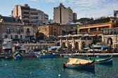 Traditional Maltese boats in Spinola bay, St Julian's, Malta — Foto Stock