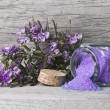 Open jar of rosemary bath salts. — Stock Photo