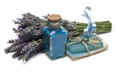 Lavender bath salts and soap. — Stock Photo
