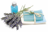 Lavender gel and soap for bathing. — Stock Photo
