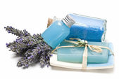 Bath salts, gel and soap made of lavender. — Stock Photo