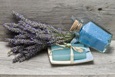 Bath salts and lavender soap. — Stock Photo