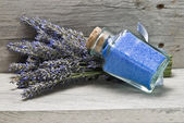 Bunch of lavender and bath salts. — Stock Photo