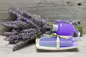 Fresh lavender, gel and soap. — Stock Photo