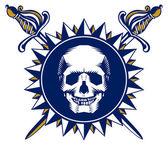 Skull sword emblem — Stock Vector