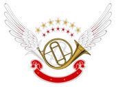 Music wing emblem — Stock Vector