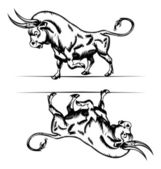 Bull icon in engraving — Stock Vector