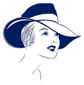 Hat young women portrait — Stock Vector