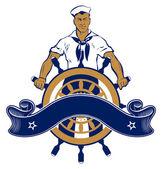 Sailor man emblem — Stock Vector