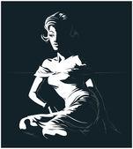 Glamour pretty women silhouette — Stock Vector