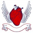 Wing heart emblem - Stockvektor