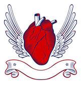 Wing heart emblem — Stock Vector